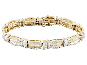 Pre-Owned Cubic Zirconia 18k Yellow Gold Over Silver Bracelet