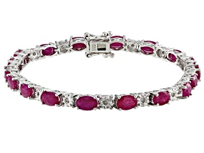 Pre-Owned Red Burma Ruby Rhodium Over Sterling Silver Bracelet 8.35ctw