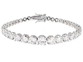 Pre-Owned White Cubic Zirconia Rhodium Over Sterling Silver Tennis Bracelet 19.70ctw