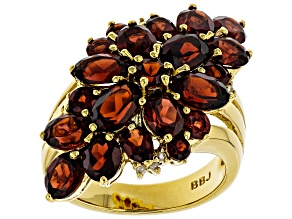 Pre-Owned Red garnet 18k gold over sterling silver ring 6.27ctw
