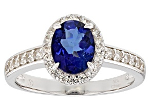 Pre-Owned Blue Danburite Rhodium Over Sterling Silver Ring 1.65ctw