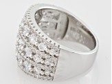 Pre-Owned White Cubic Zirconia Rhodium Over Sterling Silver Ring 3.97ctw