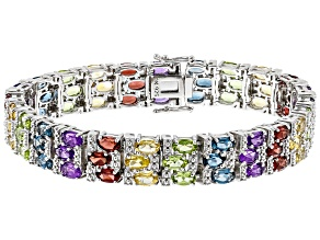 Pre-Owned Multi-color gemstone rhodium over silver bracelet 16.20ctw