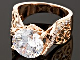 Pre-Owned Cubic Zirconia 18k Rose Gold Over Sterling Silver Ring 6.50ctw