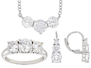 Pre-Owned White Cubic Zirconia Rhodium Over Sterling Silver Ring, Earrings, & Necklace Set 12.25ctw