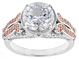 Pre-Owned Pink And White Cubic Zirconia 18k Rg Over Silver And Rhodium Over Silver Ring 5.74ctw
