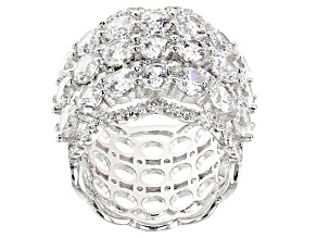Pre-Owned White Cubic Zirconia Rhodium Over Sterling Silver Ring 10.73ctw