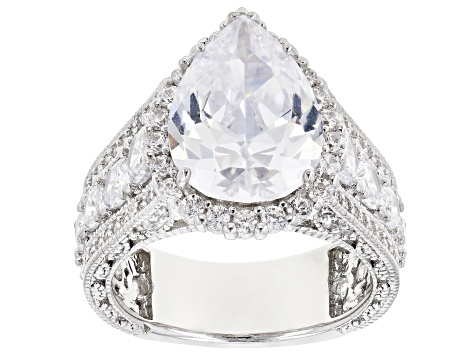 Pre-Owned White Cubic Zirconia Rhodium Over Sterling Silver Center Design Ring 7.35ctw