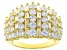 Pre-Owned White Cubic Zirconia 18K Yellow Gold Over Sterling Silver Ring 5.30ctw