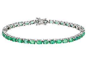 Pre-Owned Green Emerald Rhodium Over Sterling Silver Bracelet 6.93ctw
