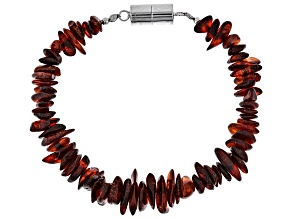 Pre-Owned Orange Amber Rhodium Over Sterling Silver Chip Bracelet
