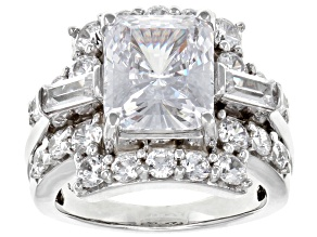 Pre-Owned White Cubic Zirconia Rhodium Over Sterling Silver Center Design Ring 12.37ctw