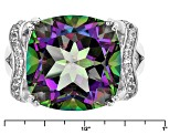 Pre-Owned Green Multicolor Quartz Sterling Silver Ring 9.06ctw