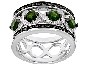 Pre-Owned Green chrome dioside rhodium over silver 3-band  ring set 1.51ctw