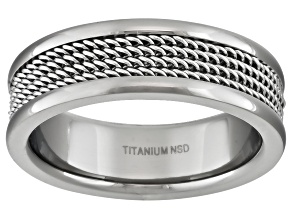 Pre-Owned 6mm Polished Titanium With Wire Mesh Center Inlay Comfort Fit Men's Band