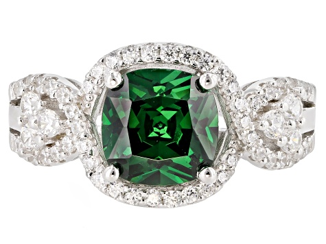 Pre-Owned Green And White Cubic Zirconia Rhodium Over Sterling Silver Ring 5.02CTW