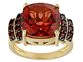 Pre-Owned Red labradorite 18k yellow gold over silver ring 5.96ctw