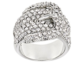 Pre-Owned  White Crystal Silver Tone Belt Buckle Ring