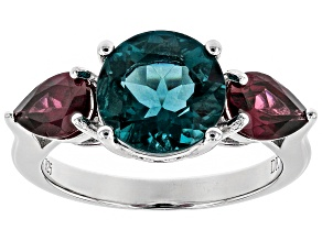 Pre-Owned Teal fluorite rhodium over silver ring 4.61ctw