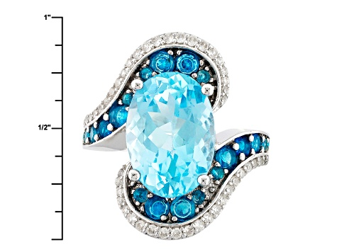 Pre-Owned Sky Blue Topaz Sterling Silver Ring 8.88ctw