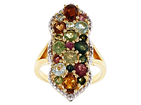 Pre-Owned Mixed-color tourmaline 18k gold over silver ring 3.43ctw