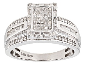 Pre-Owned Diamond Rhodium Over Stelring Silver Ring .50ctw