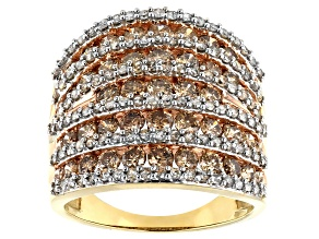 Pre-Owned 3ctw Genuine Champagne And White Diamond 10k Yellow Gold Multi-Row Ring