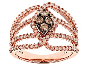 Pre-Owned Champange And White Diamond 10k Rose Gold Ring 1.00ctw