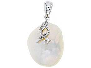 Pre-Owned Cultured Freshwater Pearl And White Topaz Rhodium Over Sterling Silver Pendant