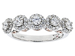 Pre-Owned Cubic Zirconia Silver And 18k Rose Gold Over Silver Ring 1.68ctw (.88ctw DEW)