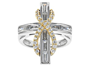 Pre-Owned Cubic Zirconia Sterling Silver With 18k Yellow Gold Over Sterling Silver Accent Ring 2.00c