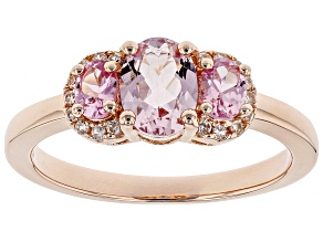 Pre-Owned Pink morganite 18k rose gold over silver ring 1.06ctw