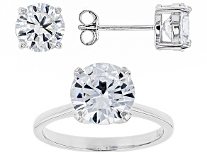 Pre-Owned white cubic zirconia rhodium over sterling silver ring and earrings 8.68ctw