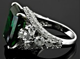 Pre-Owned Green And White Cubic Zirconia Sterling Silver Ring 22.90ctw