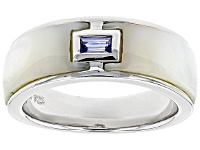 Pre-Owned Mother Of Pearl And Tanzanite Rhodium Over Sterling Silver Ring