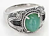 Pre-Owned Blue Opal Sterling Silver Gents Ring .06ctw