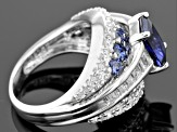 Pre-Owned Blue And White Cubic Zirconia Rhodium Over Sterling Silver Ring 6.42ctw