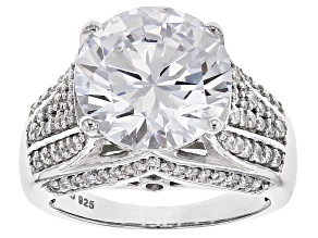 Pre-Owned White Cubic Zirconia Rhodium Over Sterling Silver Ring 12.29ctw