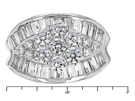 Pre-Owned Cubic Zirconia Silver Ring 5.21ctw (3.17ctw DEW)