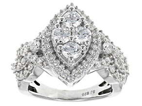 Pre-Owned Cubic Zirconia Silver Ring 4.00ctw  (2.17ctw DEW)