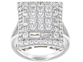 Pre-Owned White Cubic Zirconia Rhodium Over Sterling Silver Ring 4.88ctw.