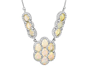 Pre-Owned Multi Color Ethiopian Opal Sterling Silver Sliding Adjustable Necklace 5.78ctw