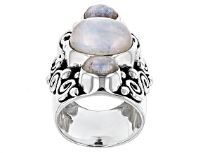Pre-Owned White Moonstone Sterling Silver Ring.