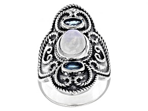 Pre-Owned White Rainbow Moonstone Silver Ring .42ctw