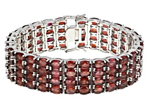 Pre-Owned Red Garnet Rhodium Over Sterling Silver Multi Row Bracelet 84.00ctw