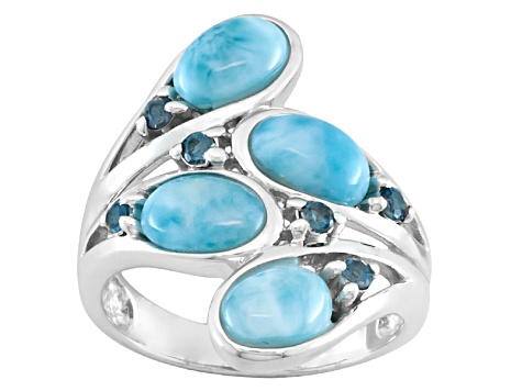 Pre-Owned Blue Larimar Sterling Silver Bypass Ring .16ctw
