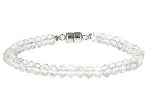 Pre-Owned White Herkimer quartz beaded sterling silver bracelet