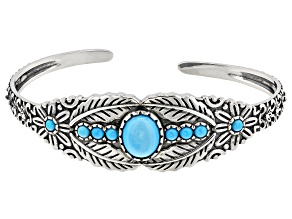 Pre-Owned Sleeping Beauty Turquoise Sterling Silver Cuff Bracelet