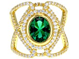 Pre-Owned Green & White Cubic Zirconia 18K Yellow Gold Over Sterling Silver Center Design Ring 5.85c