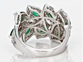 Pre-Owned Green and White Cubic Zirconia Rhodium Over Sterling Silver Ring 3.46ctw